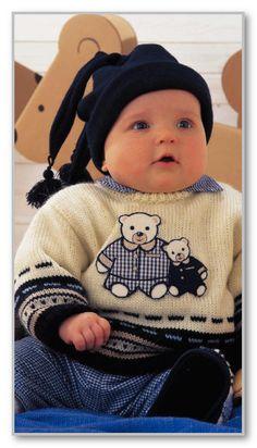 Вязание спицами. Пуловер с жаккардовой каймой и аппликацией Медвежата. Размеры 68/74 (80/78 и 92/98)