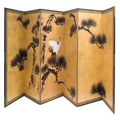 Gold Ground Six Panel Japanese Paper Screen
