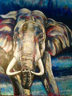 "Sumatran Elephant, original painting by Sara Cuthbert. From the ""Red Series"", endangered animals. Acrylic on canvas. Visit saracuthbert.com"