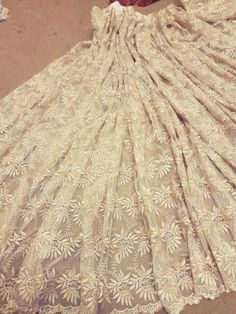 1M-BRIDAL-GOLD-CRYSTAL-SCALLOPED-LACE-EMBRIOUDED-FABRIC-45-034-WIDE Scalloped Lace, Bridal, Crystals, Clothing, Fabric, Gold, Outfits, Tejido, Tela