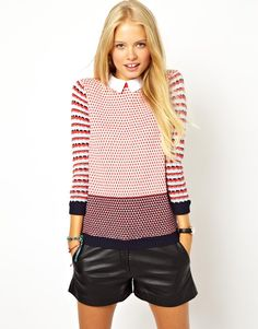 ASOS Striped Collared Sweater -- $55