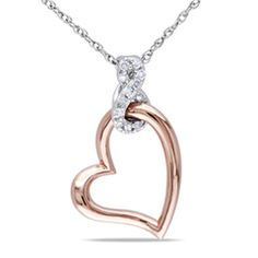 "Diamond Accent Infinity with Tilted Heart Pendant in 10K Two-Tone Gold - 17"" - Peoples Jewellers"
