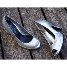 SALE! 25% OFF BUNDLES! Silver Peep Toe Heels Silver Peep Toe Heels by Miss Bisou. Size 7. A few scuffs. Shoes Heels