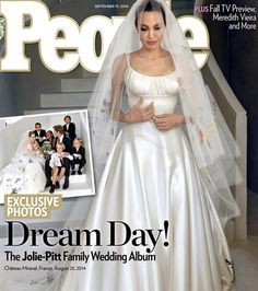 """Finally! After nine years together, Angelina Jolie and Brad Pitt tied the knot on Aug. 23 inside the chapel of Chateau Miraval, their estate in the village of Correns, France. Their six children participated in the ceremony and in the dress design: Jolie's Atelier Versace gown and veil were embroidered with the kids' artwork. """"It was such a special day to share with our children, the couple told People, """"and a very happy time for our family"""
