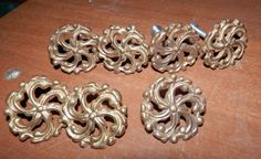7 matching fancy cast brass furniture knobs by BandCEmporium, $17.50