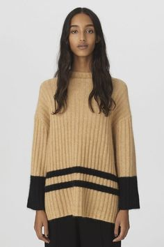 By Malene Birger is an international designer brand bringing an artistic angle to contemporary classics. Malene Birger, Wool Blend, Branding Design, Turtle Neck, Stripes, Pullover, Luxury, Sleeves, Model