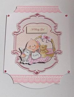 Baby girl card front with decoupage on Craftsuprint designed by Angela Wake - made by Jayne Jones -