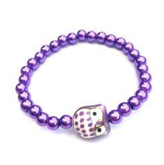 Purple owl bracelet purple owl jewellery by LozziGoodsJewellery