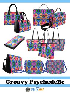 Groovy Psychedelic Bags - Bright, colorful abstract design with pinks, blues, greens and several other  groovy colors at #Artsadd ! #Gravityx9 -