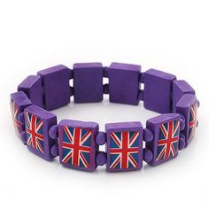 UK British Flag Union Jack Purple Stretch Wooden Bracelet - up to 20cm length