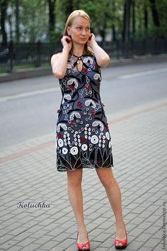 """Купить Платье """"Плющ"""" - цветочный, ирландское кружево, авторская работа, платье крючком, летнее платье"""