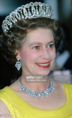 Queen Elizabeth II wears the Russian Tiara and the King Faisal Diamond Necklace at a banquet during an official tour of Germany. (Day date not certain, Tour dates May (Photo by Tim Graham/Getty Images) Queen Mother, Queen Mary, King Queen, Royal Crowns, Royal Tiaras, Queen Elizabeth Tiaras, God Save The Queen, Prinz Philip, English Royal Family