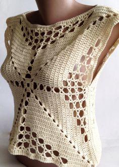 Christmas Sale Crochet crop top/ Halter summer by ElenaVorobey