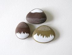 three handpainted beach pebbles // mountain by TheBlackbirdSings
