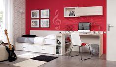 Decoracion Hogar - Comunidad - Google+ Dining Room Furniture, Furniture Design, Curved Desk, Youth Rooms, Teen Rooms, Teenage Room, Bookcase Storage, Types Of Beds, Boy Room