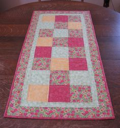 Table Runner quilted in beautiful Spring by WarmandCozyQuilts, $45.00