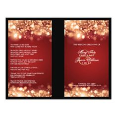 Elegant Wedding Program Sparkling Lights Gold Flyers for engagement party, christmas, wedding shower or reception