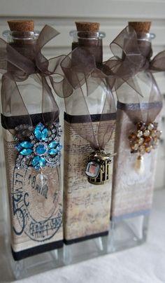 Altered bottles - Shabby-eclectic decor in bottles and vessels - Fair Masters - handmade, handmade Altered Bottles, Vintage Bottles, Bottles And Jars, Glass Bottles, Mason Jars, Perfume Bottles, Bottle Lamps, Painted Bottles, Wine Bottle Art