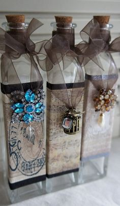 Altered bottles - Shabby-eclectic decor in bottles and vessels