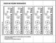 Poppy Remembrance Day Coloring bookmarks