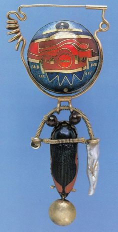 william harper   PAGAN BABY # 11; BLUE SCARAB   1978 gold cloisonne enamel on fine silver and fine gold; 14 and 24 kt gold; sterling silver; garnets; pearl; carapace