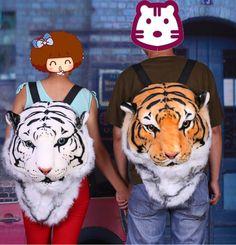 2015 novel special new Cool HUGE Luxury Tiger Lion Head backpack White yellow gold Tiger style Bag Knapsack tiger lion Backpack