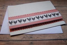 Chicken Notecards. Rustic Farm Blank Notecard by 1OfAKindCrafts