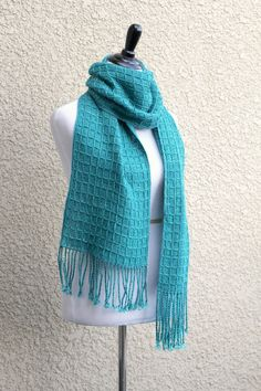 Hand woven scarf in turquoise teal long scarf with fringe