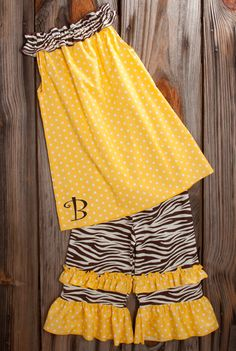 d47ab6d8546 Lolly Wolly Doodle Yellow Dot Brown Zebra Ruffle Neck Capri Set 6 7 12