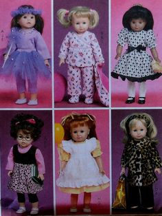 Doll Clothes Sewing Pattern McCalls UNCUT Items will fit dolls. American Doll Clothes, American Dolls, Girl Doll Clothes, Barbie Clothes, Girl Dolls, American Girl, Barbie Patterns, Mccalls Sewing Patterns, Doll Clothes Patterns