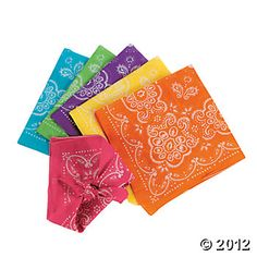 Neon Bandannas - Oriental Trading Co $11. plus shipping  To make a bandana quilt.