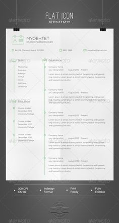 Flat Icon Resume  #GraphicRiver            Design in Indesign format  A4 size 210×297 mm bleed in 3mm  Fully editable and Master page  .indd file CS6  .idml file CS4 and later   Please don't forget to rate this file at download section       Gotham-Light                                Created: 3October13 GraphicsFilesIncluded: InDesignINDD Layered: Yes MinimumAdobeCSVersion: CS4 PrintDimensions: 8.27x11.69 Tags: a4 #black #clean #computer #cv #cvform #design #designercv #employment…