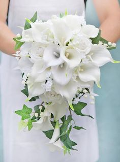 Wedding Flower Bouquet made of Natural Touch Off White Calla Lilies and Roses, accented with Ivy and Fillers. Perfect for Bride or Bridesmaids. - Elegant Bouquet made with Off White Calla Lilies Hand Bouquet Wedding, Cascading Wedding Bouquets, Wedding Flower Guide, Cascade Bouquet, White Wedding Flowers, Wedding Flower Arrangements, Bridal Flowers, Bride Bouquets, Bridal Bouquet White