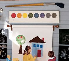 primary colors, kids learning, kid playroom, toy rooms, paint palettes, bedroom office, paint brushes, pottery barn, art walls