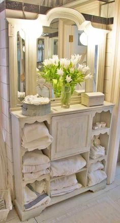 Shabby Chic - love this! But surely the towels could have been folded appropriately. Looks like my kiddos did the folding #shabbychicstyledecor #Shabbychichomes #shabbychicfurniturerustic
