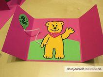 Bären Einladungskarte (Bastelanleitung & Vorlagen)