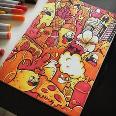 The finished product of my Colours of Fire recreation! 🔥 Really happy with this one and it was so much fun #Vexx . . . . . . . . . .… Doodle Art Drawing, Doodling Art, Graffiti Doodles, Graffiti Art, Doddle Art, Notebook Doodles, Kawaii Doodles, Copic Sketch, Fire Art