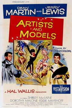 Artists and Models 1955 film poster - starring Dean Martin, Jerry Lewis and Shirley MacLaine