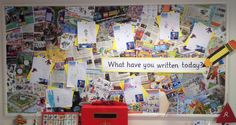 My 'what have you written today' display. Used as a working wall. #writing display #reception #eyfs