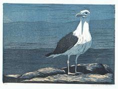 Black-backed Gull Block Print.via Etsy.