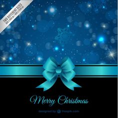 Christmas Card with Blue Ribbon Free Vector