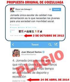 JUAN MANUEL SANTOS HACE PLAGIO. ROBA PROPUESTA DE SU OPOSITOR OSCAR IVAN.  24 de abril de 2014.
