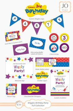 Complete Printable Collection for a Wiggles Birthday Party by JoStudioPartyPaperie / Kids Party / Wiggles Birthday Party / Kids Parties / Stationery / Jo Studio / The Wiggles / Red Blue Purple Yellow / Printables by Jo Studio Styling by Lola and Co Party Styling