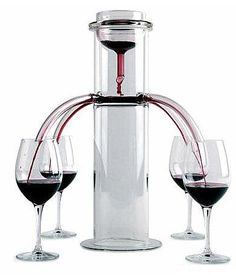 One For All, All For One. Pour exactly equal amounts of wine into four glasses.  Wine dispenser for table: a uniform flow of liquid out of the four holes allows to fill simultaneously and uniformly the glasses of all the diners. http://www.dezeen.com/2010/05/23/applied-physics-by-acquacalda/