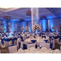 Wedding, Flowers, Reception, White, Blue, Silver, Linda smith weddings - Project Wedding found on Polyvore