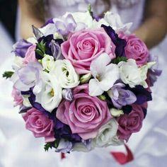 Bride's Round Bouquet Comprised Of: White Lisianthus, White Freesia, Lavender Freesia, Deep Purple Lisianthus, Pink Roses