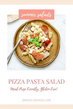 This Pepperoni Pizza Pasta Salad is one of my favorite recipes to meal prep and pack for a healthy lunch! It is delicious served on a bed of fresh salad greens. #pastasalad #summerrecipes #mealprep #pizza #healthylunch Healthy Comfort Food, Healthy Eating, My Favorite Food, Favorite Recipes, Lunch Recipes, Healthy Recipes, Pizza Pasta Salads, Create A Recipe