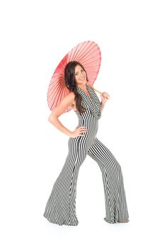 Black and white stripped Jailbird Huntress Onesie with cowl neck and bell bottom pants.