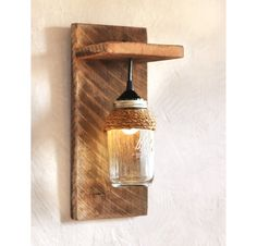 Mason Jar Light Wall Fixture Barnwood Wall by GrindstoneDesign