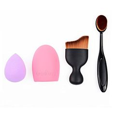 WOVTE 4 Pcs Professional Cosmetic Makeup Brush Set Oval Toothbrush Liquid Foundation Cream Blush Concealer Brush Fashion Shadow Contour Brush with Cosmetic Sponge Puff Makeup Brush Cleaner -- Read more reviews of the product by visiting the link on the image.